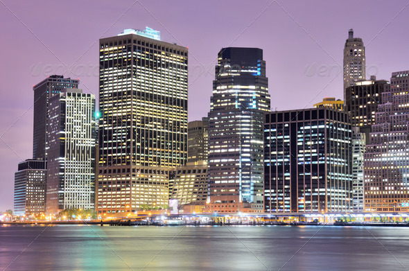 Manhattan skyline downtown - Stock Photo - Images