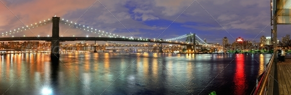 Panorama of Brooklyn Bridge - Stock Photo - Images