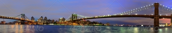East River at Night in New York - Stock Photo - Images