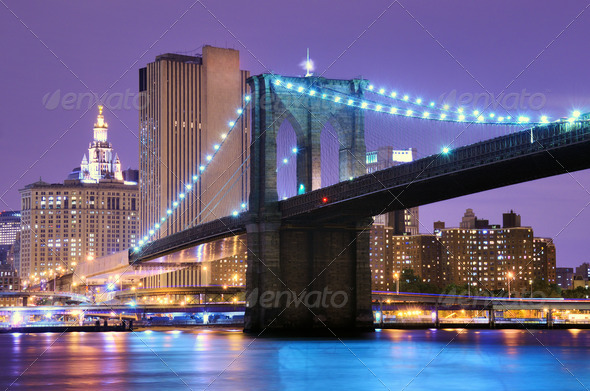 Brooklyn Bridge in New York - Stock Photo - Images