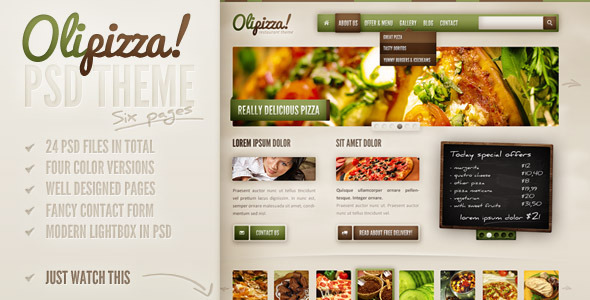 Olipizza – Really tasty PSD theme in 4 colors