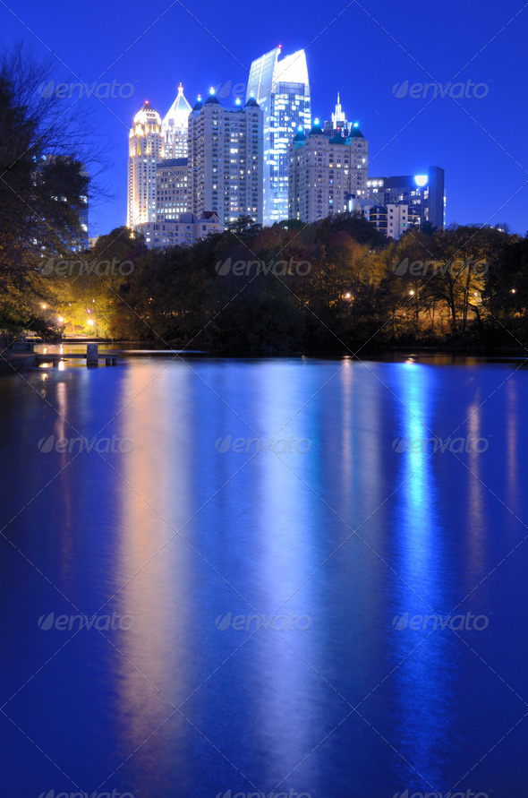 Atlanta From Piedmont Park - Stock Photo - Images