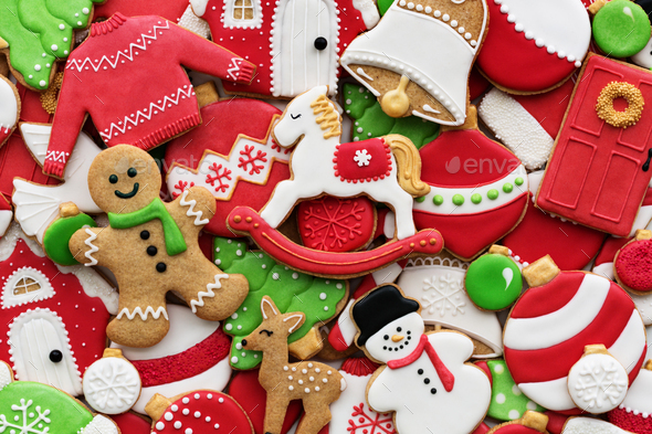Decorated Christmas cookie background - Stock Photo - Images