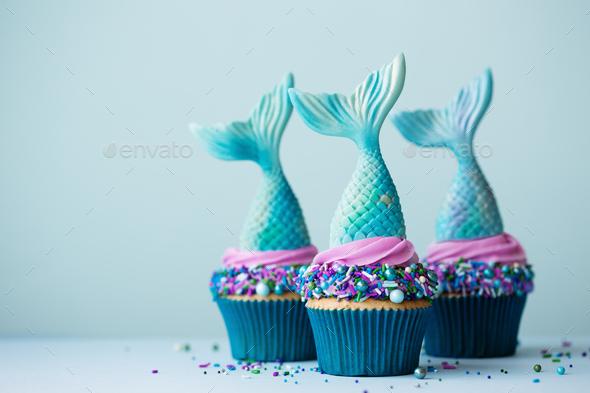 Mermaid cupcakes - Stock Photo - Images