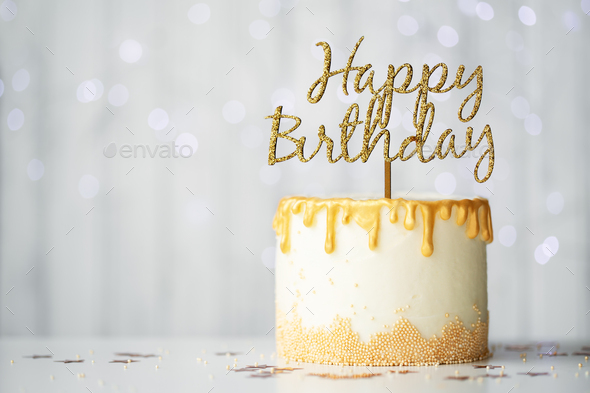 Golden birthday cake - Stock Photo - Images