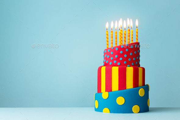 Colorful birthday cake - Stock Photo - Images