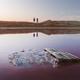 Salt crystals in pink water salt lake - PhotoDune Item for Sale