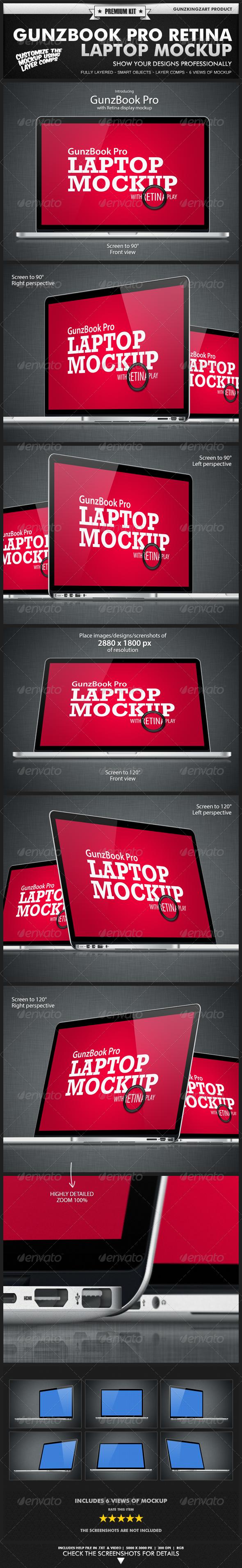 GunzBook Pro Retina Laptop Mockup - Monitors Displays