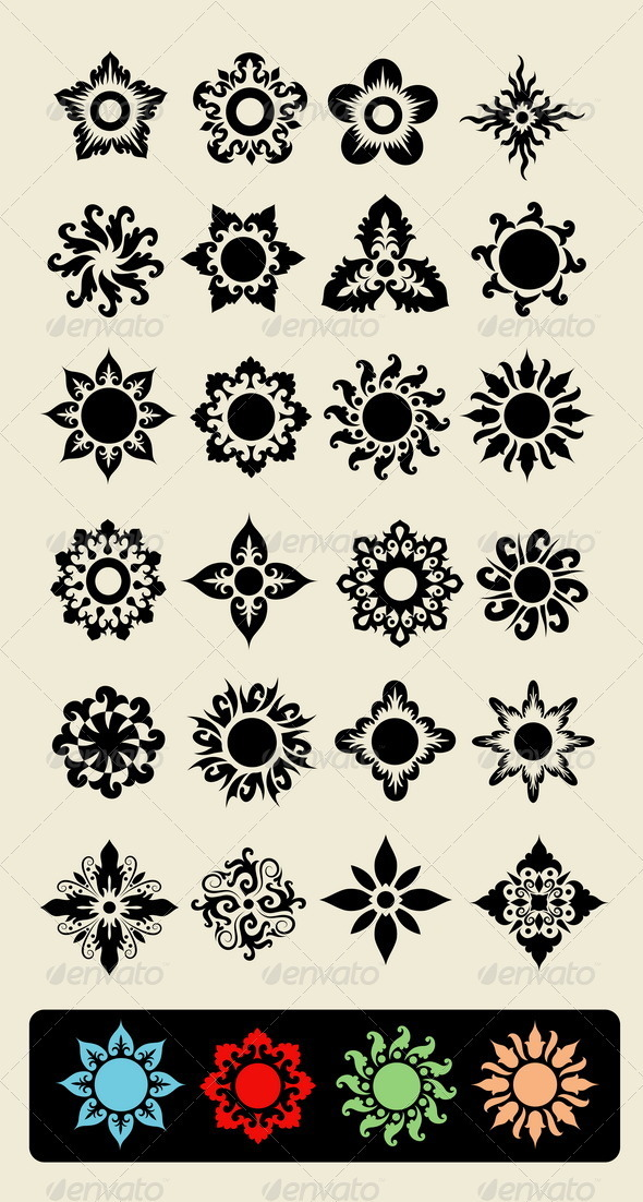 24 Flowers - Flourishes / Swirls Decorative