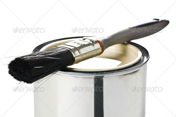 paint brush and tin can - Stock Photo - Images
