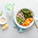 Vegan healthy lunch bowl with quinoa, sauteed kale and baked butternut squash, top down view - PhotoDune Item for Sale