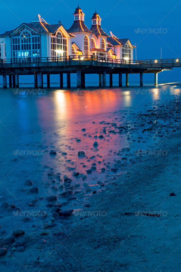The pier of Sellin at night  - Stock Photo - Images