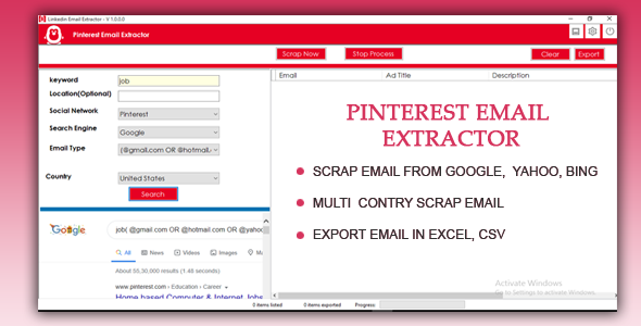 Pinterest Email Extractor and Scraper