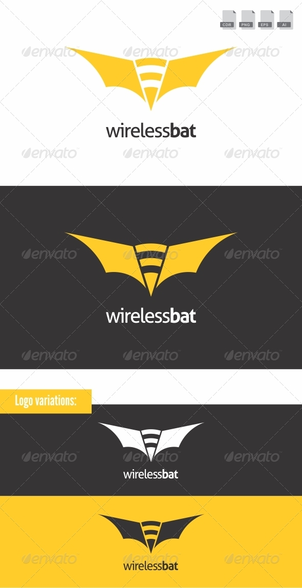 Wireless Bat - Animals Logo Templates