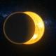 Total solar eclipse 3d: lunar silhouette art illustration. Epic cosmos scene in dark blue background - PhotoDune Item for Sale