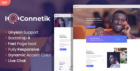 IQconnetik - Modern Call Center WordPress theme