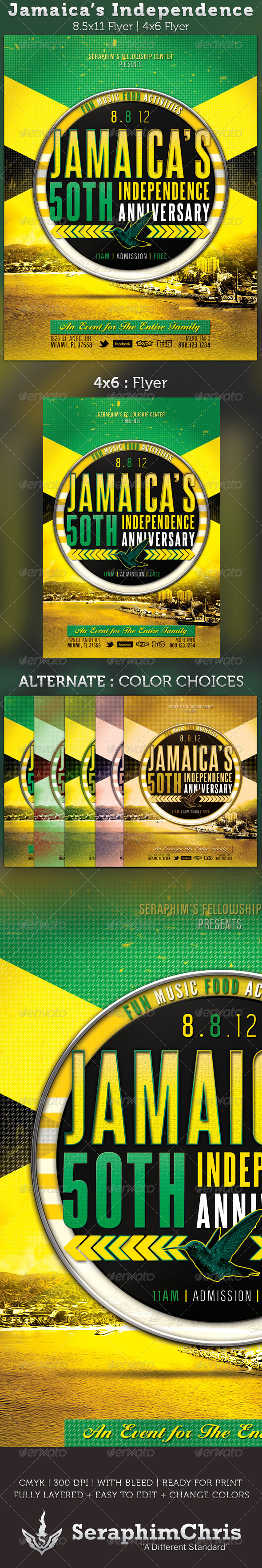 Jamaica's Independence Flyer Template - Church Flyers