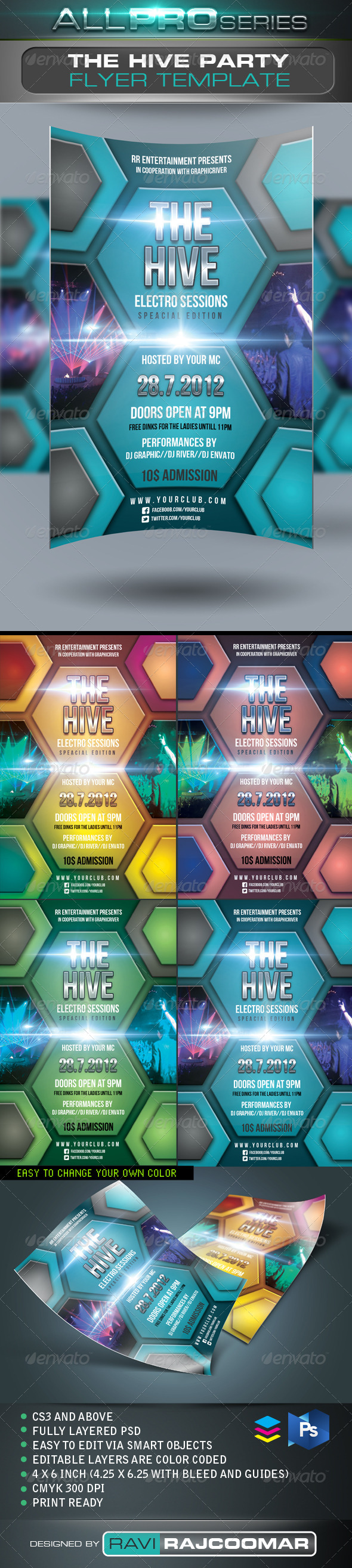 The Hive Party Flyer Template - Events Flyers