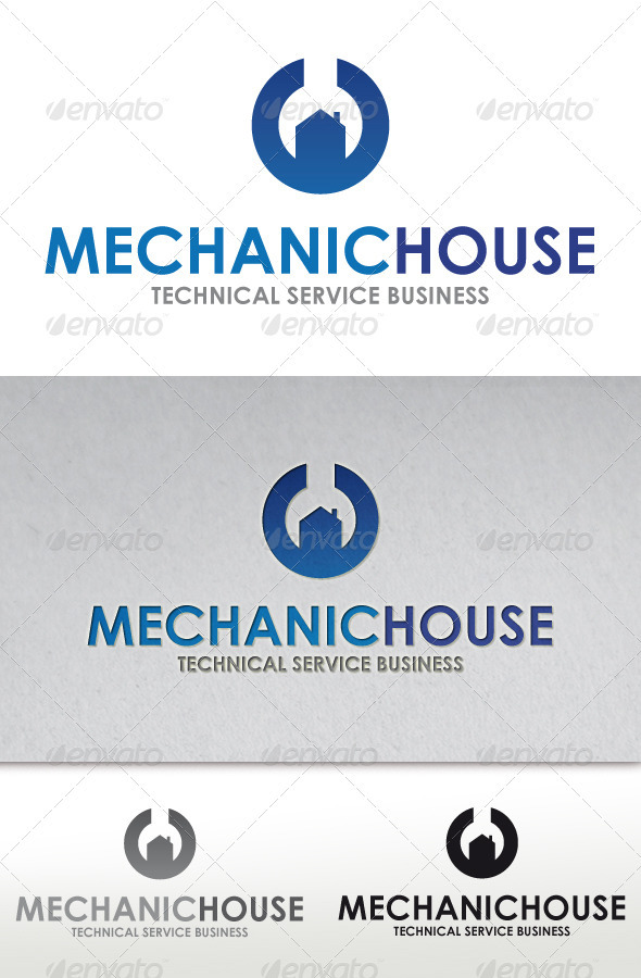Mechanic House Logo - Vector Abstract