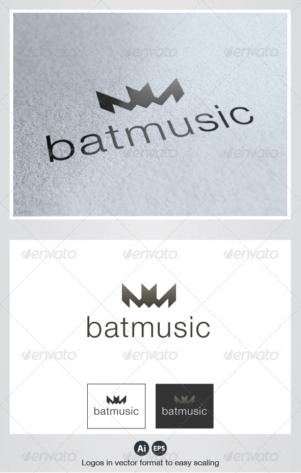 Bat Music Logo - Animals Logo Templates
