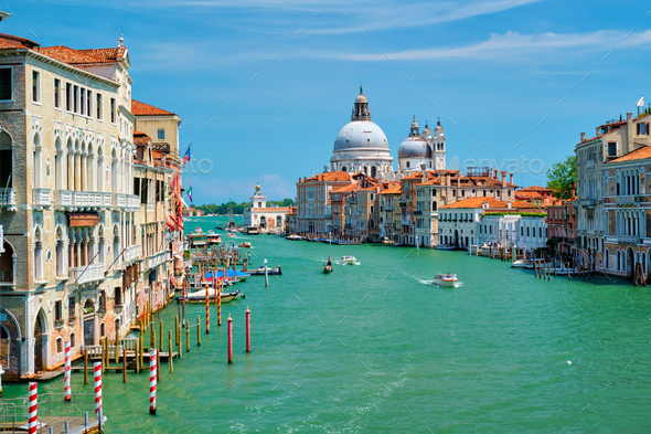 View of Venice Grand Canal and Santa Maria della Salute church on sunset - Stock Photo - Images