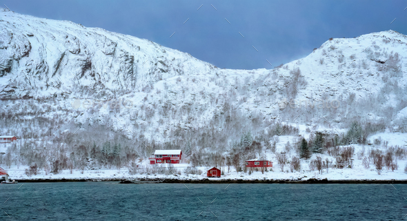 Red rorbu houses in Norway in winter - Stock Photo - Images