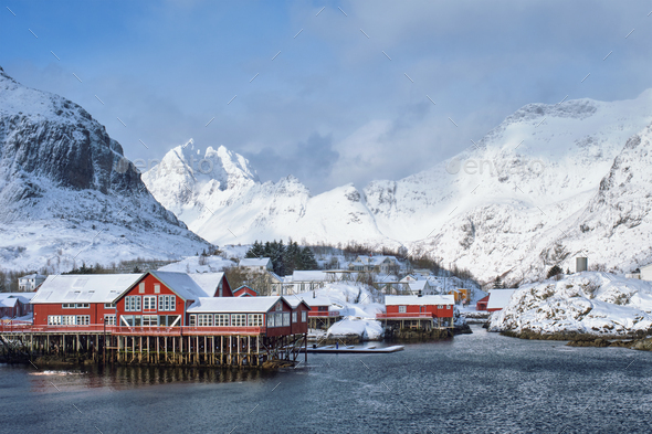 """A"" village on Lofoten Islands, Norway - Stock Photo - Images"