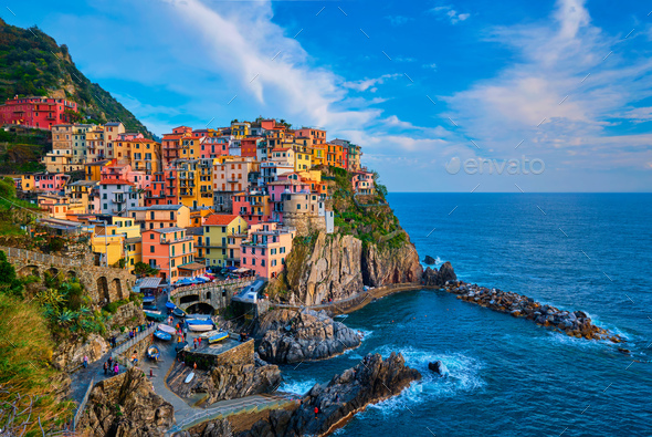 Manarola village on sunset, Cinque Terre, Liguria, Italy - Stock Photo - Images
