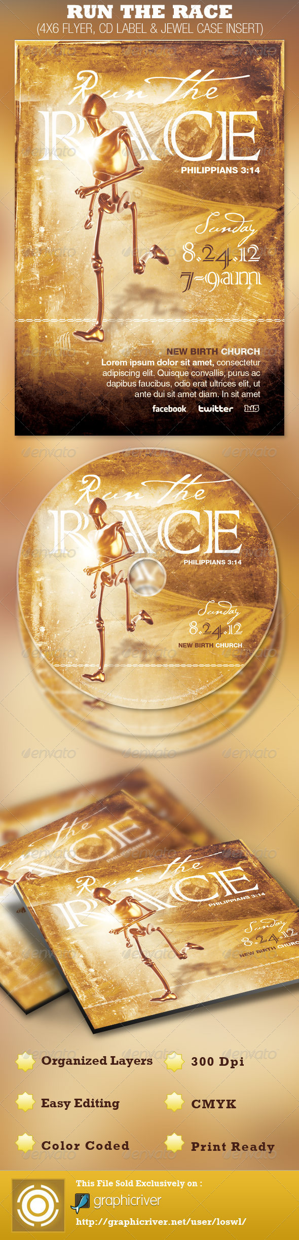 Run the Race Church Flyer and CD Template - Church Flyers