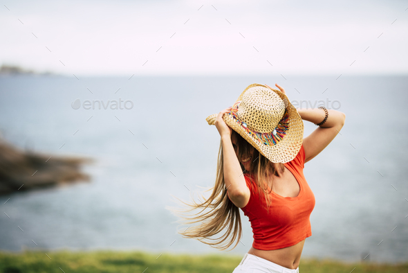 Happiness concept with cheerful and joyful girl - Stock Photo - Images