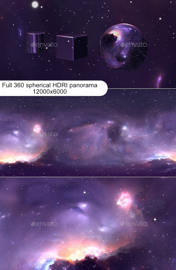 360 degree space background with nebula and stars, equirectangular projection, environment map