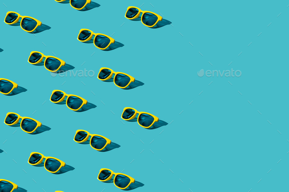 Sunglasses Pattern On Turquoise Blue Background With Copy Space - Stock Photo - Images