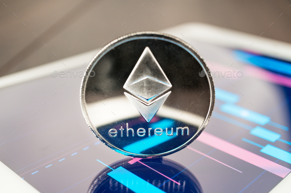 Ether Cryptocurrency On The Tablet - Stock Photo - Images