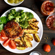 Barbecue pork with vegetables on plate - PhotoDune Item for Sale