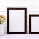 Two black poster frames mockup with pink yarrow - PhotoDune Item for Sale