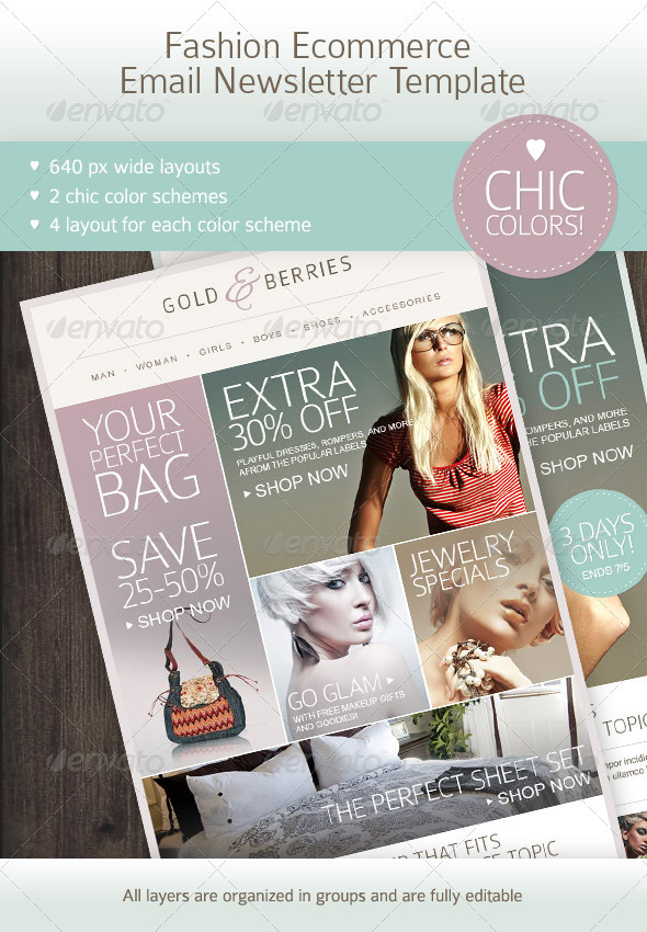 Fashion Ecommerce  Email Newsletter Template - E-newsletters Web Elements