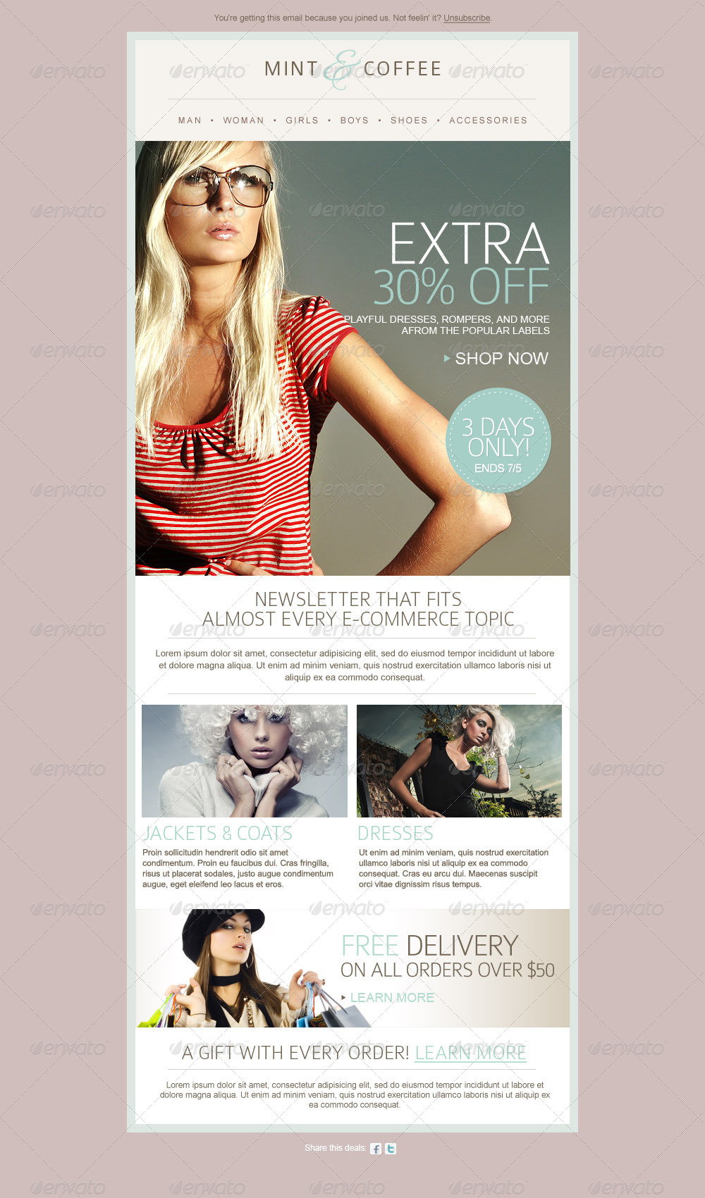 Fashion Ecommerce Email Newsletter Template By Mariarti GraphicRiver - Free email newsletter templates for gmail
