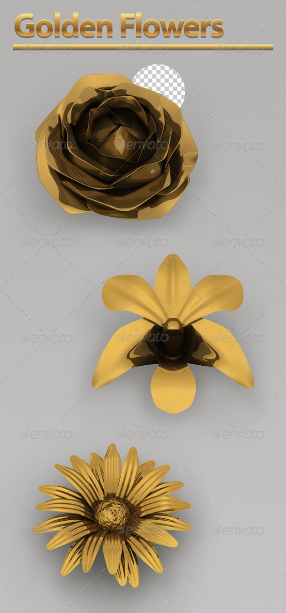 Golden Flowers - Objects 3D Renders