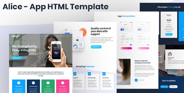 Alice - App Landing Page HTML Template