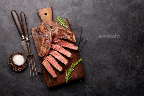 T-bone grilled beef steak - Stock Photo - Images