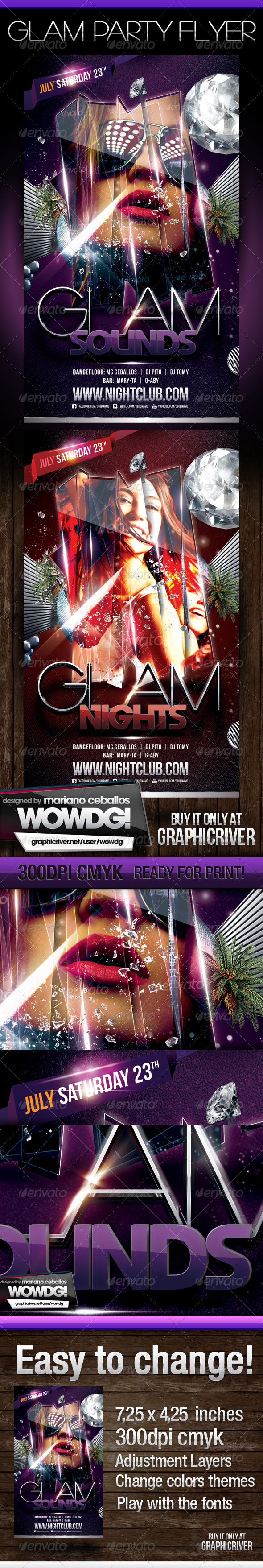 Glam Party Template Flyer - Flyers Print Templates