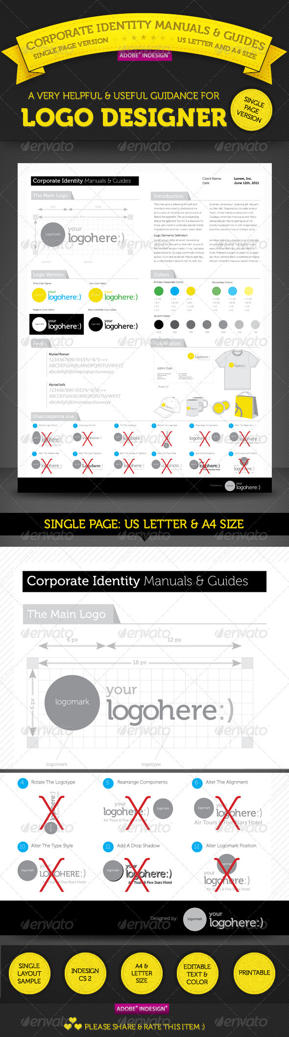 Brand Manuals & Guides - Single Page Version - Miscellaneous Print Templates
