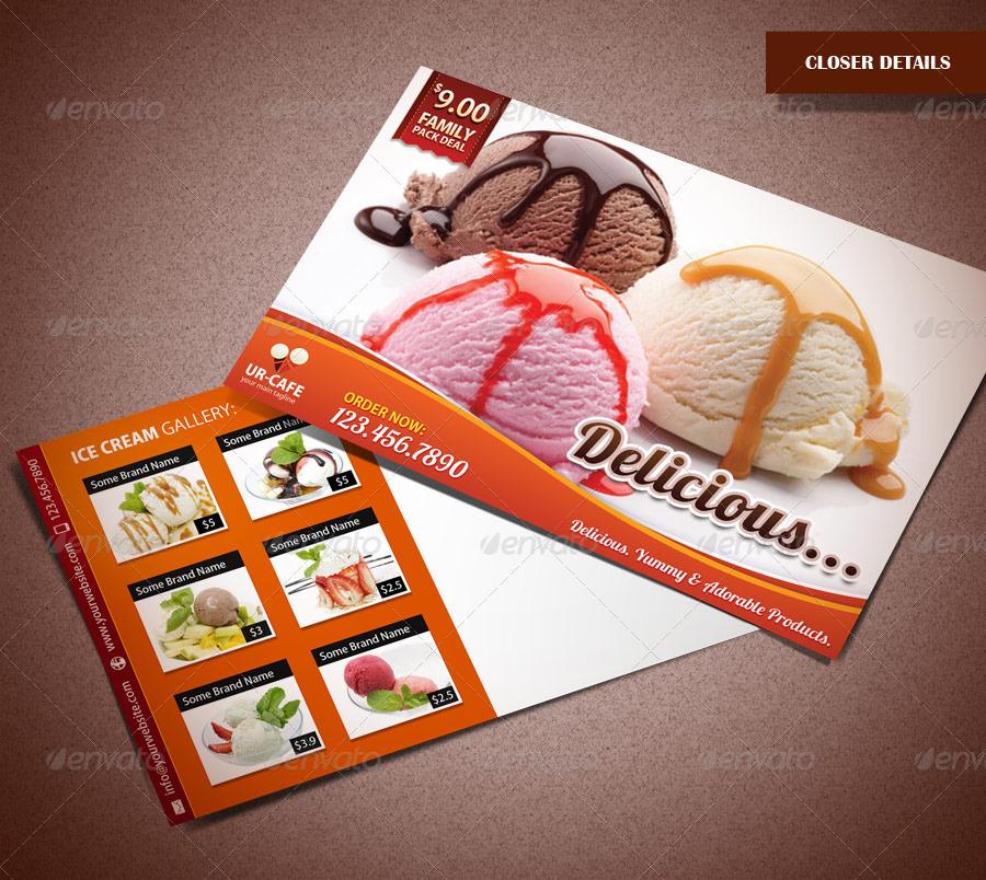 ice cream shop and bakery marketing postcard by saptarang