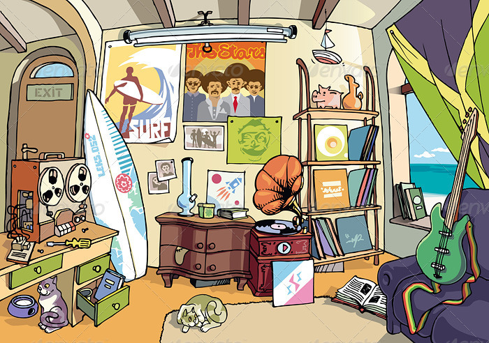 Surfer's Room - Scenes Illustrations