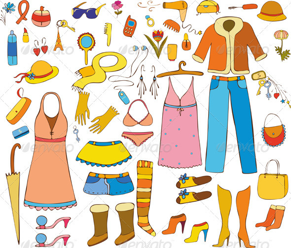 Woman Things Isolated - Objects Vectors