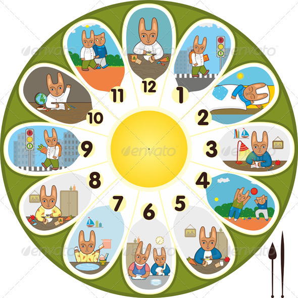 Clock Rabbit Schoolchild - Objects Vectors