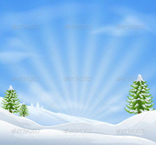 Christmas snow landscape background - Christmas Seasons/Holidays