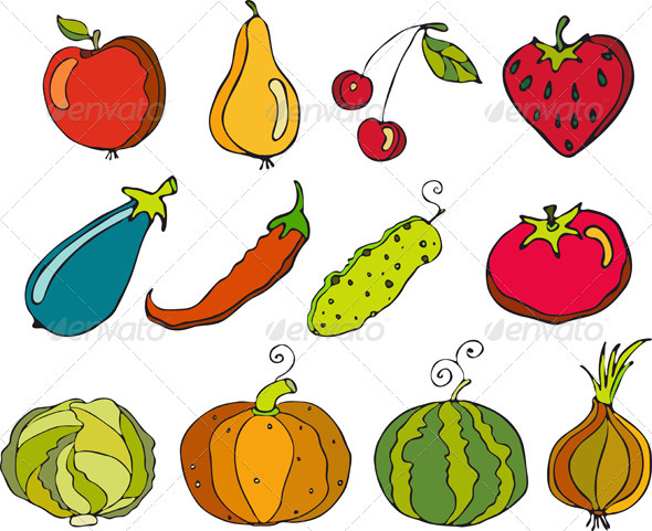 Vegetables Fruit Set Isolated - Food Objects