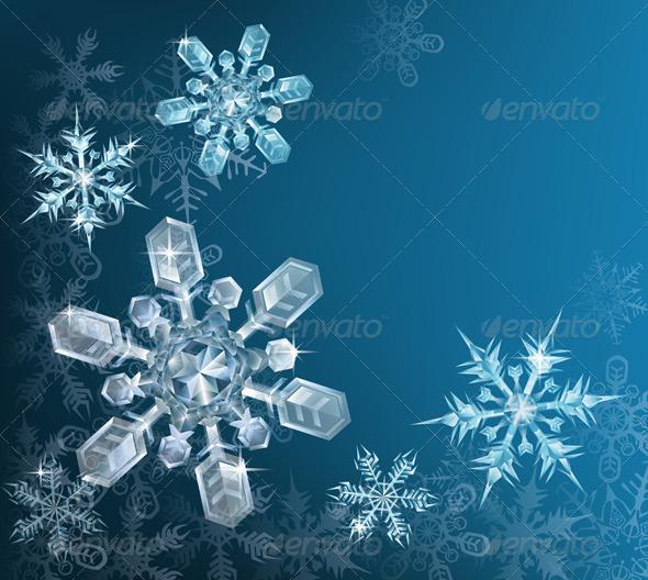 Blue Christmas snowflake background - Christmas Seasons/Holidays