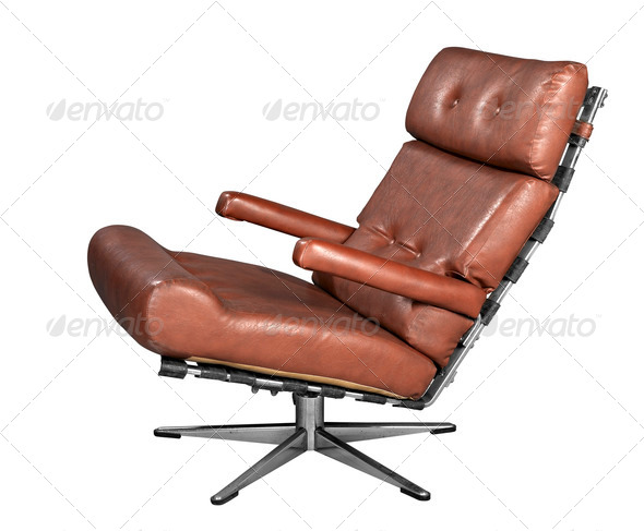 Isolated soft brown leather stylish chair - clipping path - Stock Photo - Images